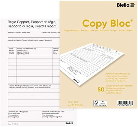 Biella Regie-Rapport-Buch Copy-Bloc, A5, 50 Blatt
