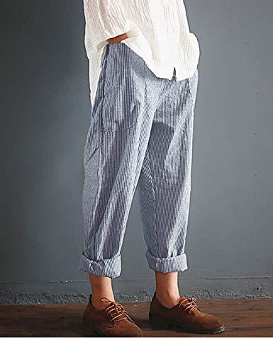 I Lino Di Harem Donne Direttamente Taglia Pantaloni Strisce Pantaloni Blu Pinocchietti In Naliha In pnqRUw6q0