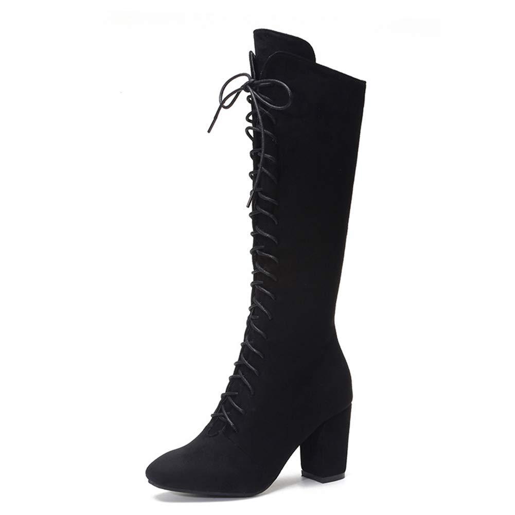 Amazon.com: Hoxekle - Botas altas para mujer, con cordones ...