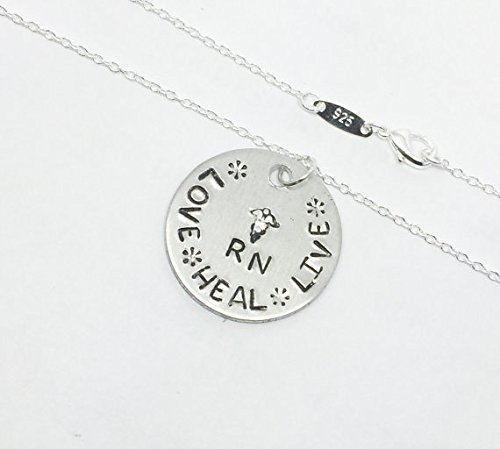 [Love Heal Live RN Pendant Necklace is Hand-Stamped Pendant from Surgical Stainless Steel & Sterling] (Hearts Costumes Shoe)