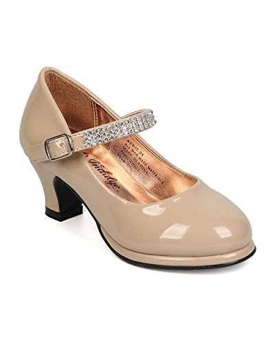 Indulge Aeris-01A New Girl Patent Leatherette Round Toe Mary Jane Kiddie Heel (Toddler / Kids) - Nude (Size: Little Kid 12)