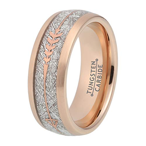 BestTungsten 8mm Rose Gold Womens Mens Tungsten Carbide Rings Wedding Bands Meteorite Arrow Inlay Hunting Ring Comfort Fit