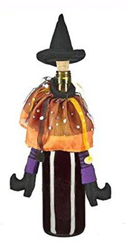 Ganz Orange & Purple Wicked Witch Halloween Wine Bottle Decoration & Cork ()