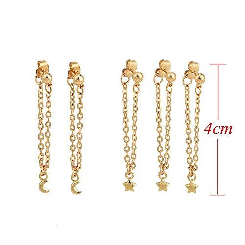 5PCS/Set Simple Long Tassel Punk Chain Star Ear Stud Jewelry Moon Earrings Set