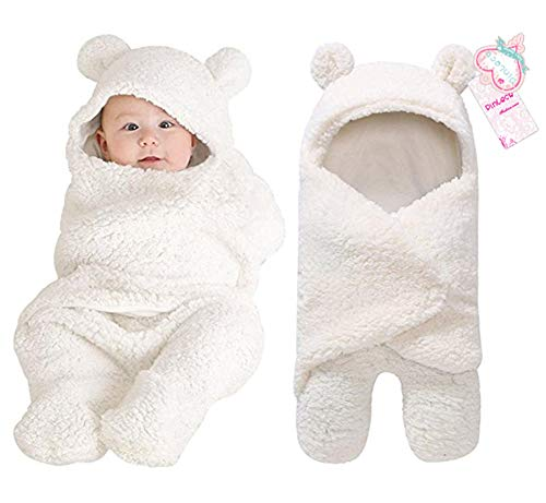 Newborn Baby Boy Girl Cute Cotton Plush Receiving Blanket Sleeping Wrap Swaddle (White, One -