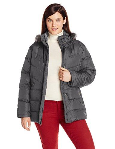 Larry Levine Women's Plus-Size Down Jacket with Removable Faux Fur Trim Hood, Steel, 3X