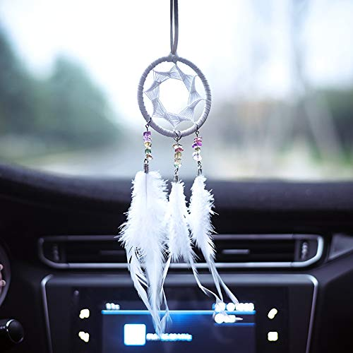 DrCor White Dream Catcher for Car Rear View Mirror Decoration Hanging Accessories Handmade Traditional Boho Chic Native American Wall Decor