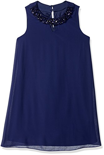 Amy Byer Girls' Big Shift Dress with Embellished Neckline, sea Navy, - Embellished Dress Neckline