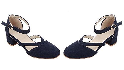 AgooLar Damen Schnalle Niedriger Absatz Mattglasbirne Rund Zehe Pumps Schuhe Blau