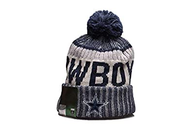 Gohely Dallas Cowboys Beanie with Pom, Warm Winter Hats Thick Knit Cuff Beanie Cap for NFL Dallas Cowboys Team Fans
