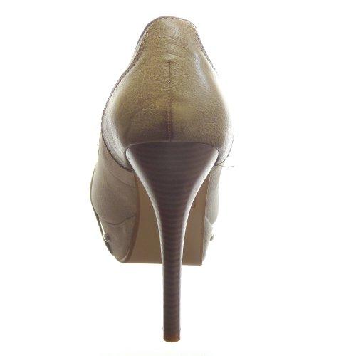 Kickly - Chaussure Mode Escarpin Plateforme Stiletto cheville femmes boucle Talon aiguille haut talon 12.5 CM - Beige/Camel