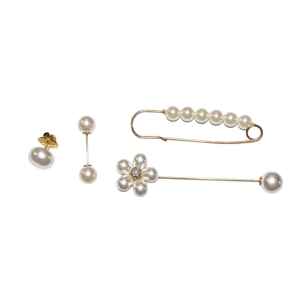 Shinywear Brooch Pin Pearl Set of 4