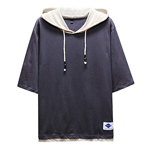 TOPUNDER Men's Summer Fashion Casual Patchwork Hoodie T-Shirts Short Sleeves Top Blouse Dark Gray