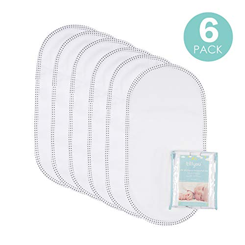 "TILLYOU Larger Softer Changing Pad Liners Waterproof, Washable Reusable Changing Table Cover Liners Double Layers, 100% Cotton Flannel Surface, 27""x13"" 6 Count"