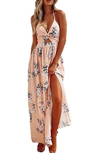 Sunward 2018 Women's Boho Floral Print V Neck Chiffon Spaghetti Strap Long Maxi Dress Beach Sundress (Pink, S) -