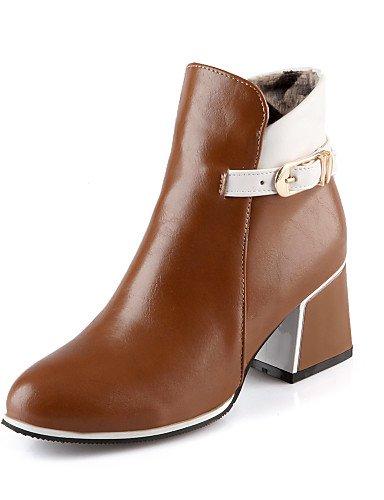 Robusto us8 us8 Zapatos Brown Burgundy Trabajo Tacón Mujer Cn39 Vestido Uk6 Xzz Botas Eu39 Casual negro Cuero Sintético De Oficina Y Punta Cerrada Redonda gICqnAW
