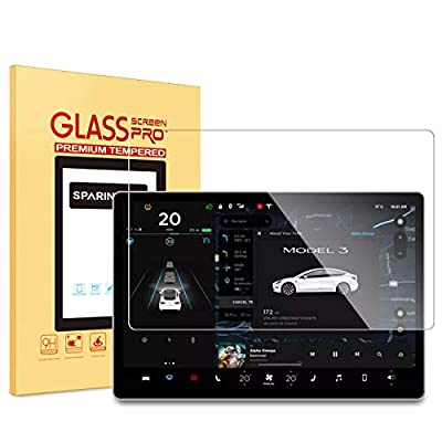 SPARIN Screen Protector for Tesla Model 3 Central Control 15 inch Touchscreen Car Navigation Screen / 9H Tempered Glass/Scratch Resistant