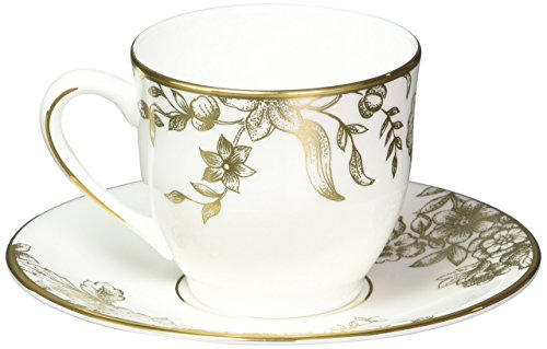 Lenox Marchesa Gilded Forest Espresso Cup and Saucer, White