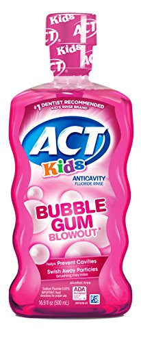 ACT Kids Anti-Cavity Fluoride Rinse Bubblegum Blowout  Children's Mouthwash with Fluoride & Exact Dosage Meter,16.9 Fl - Childrens Bubble