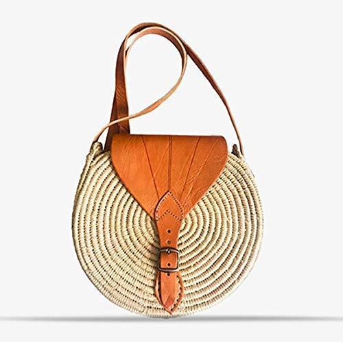 Handmade boho Straw Bag - rattan round wicker bags for women: bohemian handbags and woven beach purse - circle bamboo handbag: festival hip fashion pouch