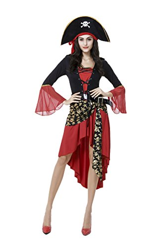 [Honeystore Women's Sexy Captains Pirate Halloween Fancy Dress Costume with Hat] (Cheap Sexy Halloween Costumes Ideas)