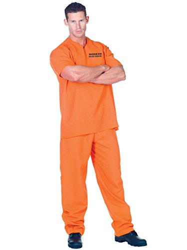 Mens Convict Costume 2 Piece Set Orange Short