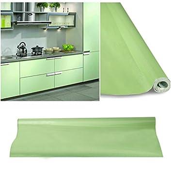 KINLO Selbstklebende Folie Küche Grün 61x500cm Tapeten Küche Aus  Hochwertigem PVC Klebefolie Aufkleber Küchenschränke Wasserfest Möbelfolie