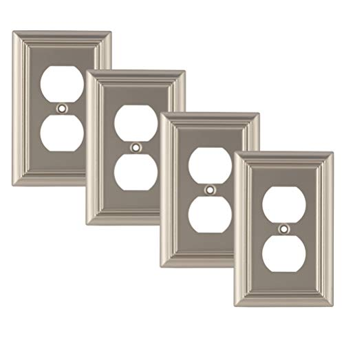 Pack of 4 Wall Plate Outlet Switch Covers by SleekLighting | Decorative Satin Nickel | Variety of Styles: Decorator/Duplex/Toggle / & Combo | Size: 1 Gang - Nickel Satin Wall