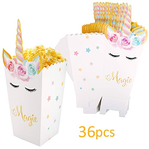 36 Pack Open-Top Unicorn Pattern Popcorn Boxes Treat Snack Boxes Popcorn Holder for Baby Shower Birthday Christmas Party Supplies ()