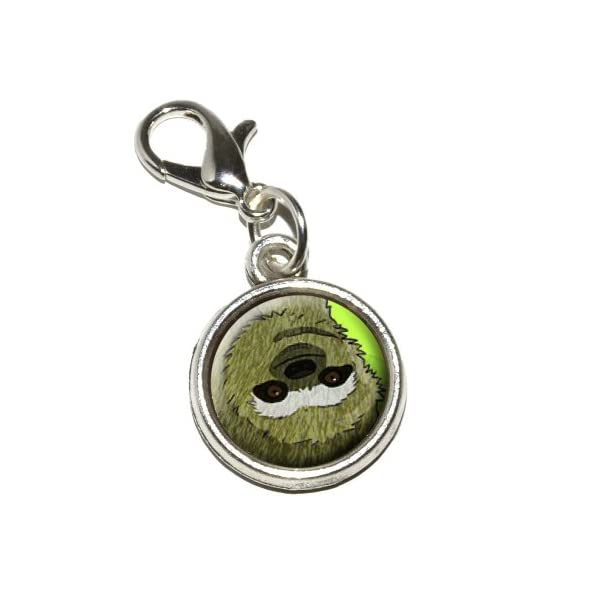 Graphics And More Sloth Watercolor Antiqued Bracelet Pendant Zipper Pull Charm With Lobster Clasp -