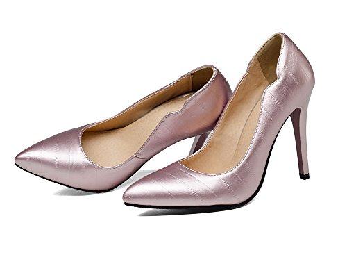 Allhqfashion Dames Effen Pu Hoge Hakken Pull-on Gesloten-teen Pumps-schoenen Roze