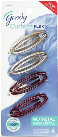 Goody Womens Ouchless Flex Small Contour Slide Barrettes 4CT - Color May Vary by Goody