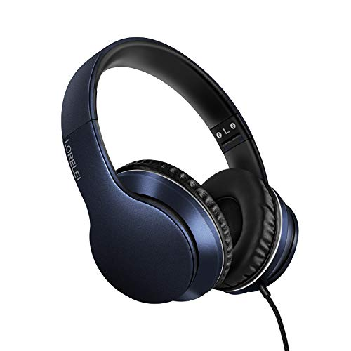LORELEI X6 Over-Ear Headphones with Microphone, Lightweight Foldable & Portable Stereo Bass Headphones with 1.45M No-Tangle, Wired Headphones for Smartphone Tablet MP3 / 4 (Dark Blue)
