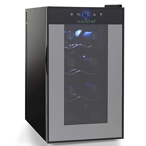Nutrichef 8 Bottle Thermoelectric Wine Cooler Refrigerator | Red, White, Champagne Chiller | Counter Top Wine Cellar | Quiet Operation Fridge | Touch Temperature Control ()