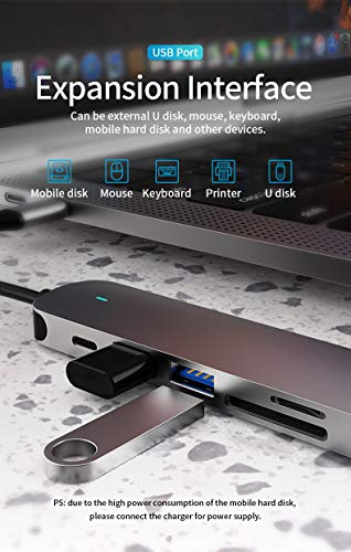 USB C Hub 6 in1 USB C Multi-Port Adapter with 4K HDMI Output, 100W PD Charger, 1 USB 3.0 Port and 1 USB 2.0 ,1 Indicator Light TF/SD Card Compatible with MacBook Pro/Air, XPS More Type C Port Laptops