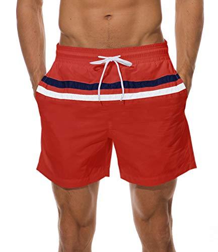 ChinFun Men's Elastic Waist Beach Surf Shorts Casual Sports Workout Shorts Red - Surf Shorts Wallet
