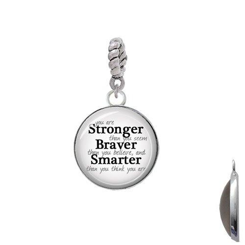 Rope Charm Bead Silvertone Domed Stronger Braver Smarter