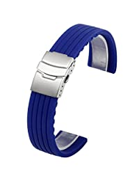Top Plaza Waterproof Soft Silicone Rubber Watch Strap Band Deployment Buckle for Citizen Lg G-watch Seiko Samsung Mens Womens Watch(Blue,22MM)