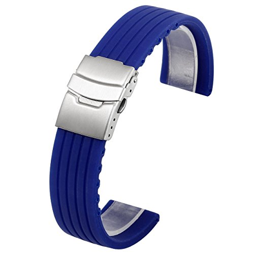 Silicone Rubber Watch Strap Band Deployment Buckle Waterproof 20mm - 6