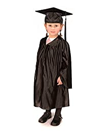 Childrens graduation gowns (age 3-5) and matching cap (shiny look) (Black)