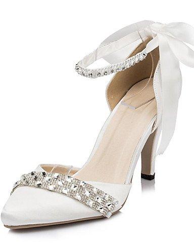 ZQ Zapatos de boda-Tacones-Tacones-Boda / Vestido / Fiesta y Noche-Marfil / Blanco-Mujer , 3in-3 3/4in-ivory 3in-3 3/4in-ivory