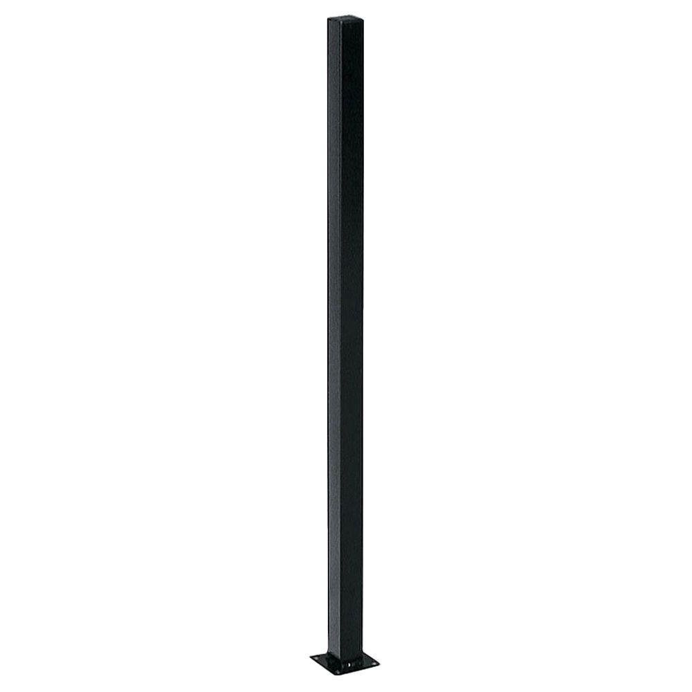 2 in. x 2 in. x 3 ft. Black Metal Fence Post with Flange and Post Cap FP236PUS