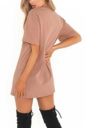 Tops Women's Choker T Short Mini Shirt Dress Sleeve Front Loose AKENA Sexy Dress Pink Casual Simple Plain fXxwfCqS