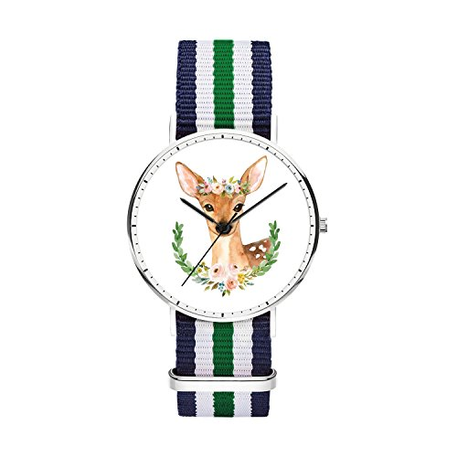 Men's Simple Wrist Watches Personalized Deer Pattern, Quartz Movement Analog Display Minimalist Men's Watches Water Resistant Watches with Nylon Multi-Color Striped Band Swiss Quality - Pl Watch Swiss