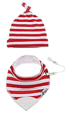 Tickles& Wiggles Organic Baby Bandana Bibs for Teething, Drooling Infant - Teether, Adjustable Snaps, Pacifier/Toy Tether