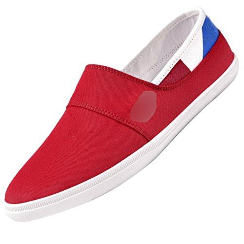 tendenza Scarpe da casual YaNanHome Espadrillas da 43 Red uomo basse coreano di uomo traspirante Gray ginnastica Size stile scarpe tela da Color Scarpe wxOX4v