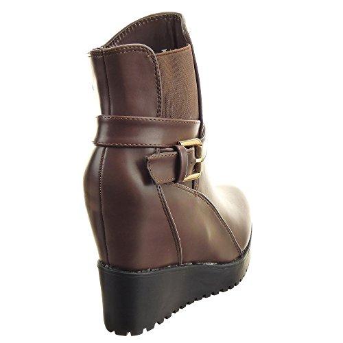Sopily - Scarpe da Moda Stivaletti - Scarponcini Chelsea Boots Zeppe donna multi-briglia Tacco zeppa piattaforma 11 CM - soletta sintetico - foderato di pelliccia - Marrone