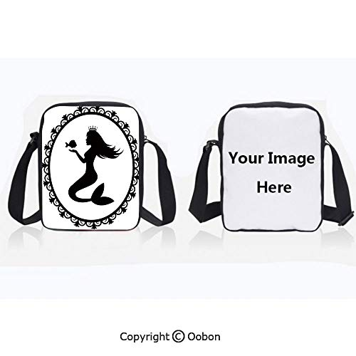 Polyester Anti-Theft Everything Crossbody Bag Unisex Teen Vintage Style Graphic Illustration of a Framed Princess Mermaid with Crown and Fish Decorative Black White Lightweight Zipper Multi-Pocketed