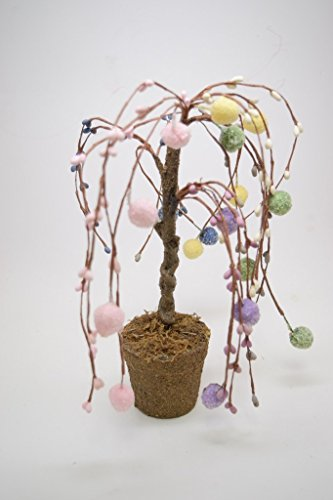 Weeping Willow Branch - Easter Egg Bare Branch Weeping Willow Tree 11 Inch Tall Potted Plant Easter Decoration