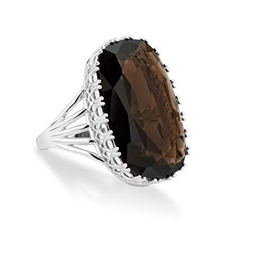 (Miabella 925 Sterling Silver 15.00 ct Genuine Smoky Quartz Solitaire Gemstone Ring for Women, Rectangular Cushion Cut)